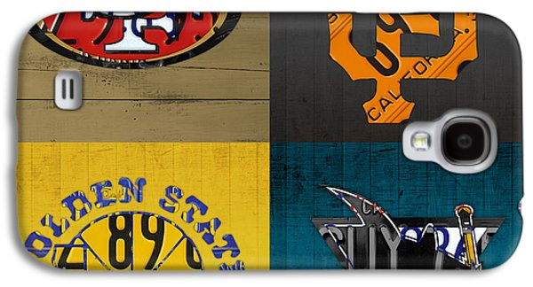 San Francisco Sports Fan Recycled Vintage California License Plate Art 49ers Giants Warriors Sharks Galaxy S4 Case by Design Turnpike
