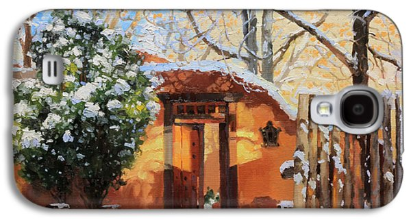 Winter Paintings Galaxy S4 Cases - Santa Fe adobe in winter snow Galaxy S4 Case by Gary Kim