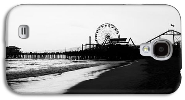 Santa Monica Pier Black And White Panoramic Photo Galaxy S4 Case by Paul Velgos