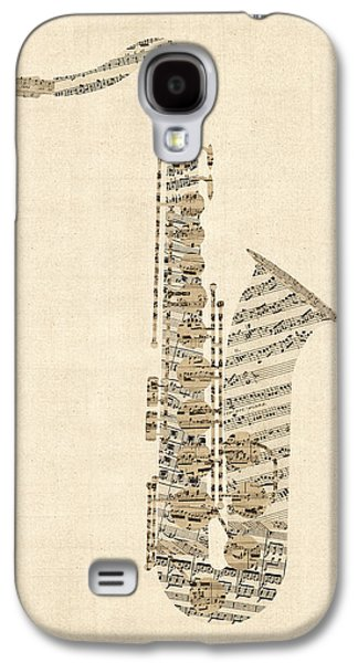 Saxophone Galaxy S4 Case - Saxophone Old Sheet Music by Michael Tompsett