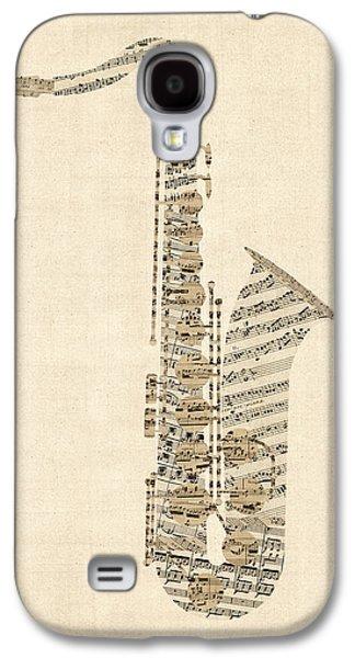 Saxophone Galaxy S4 Case - Saxophone Old Sheet Music by Michael Tompsett