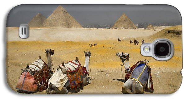 Scenic View Of The Giza Pyramids With Sitting Camels Galaxy S4 Case by David Smith