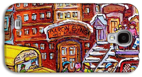 School Bus Rue St Urbain Baron Byng High Montreal 375 Hockey Art Colorful Street Scene Painting      Galaxy S4 Case