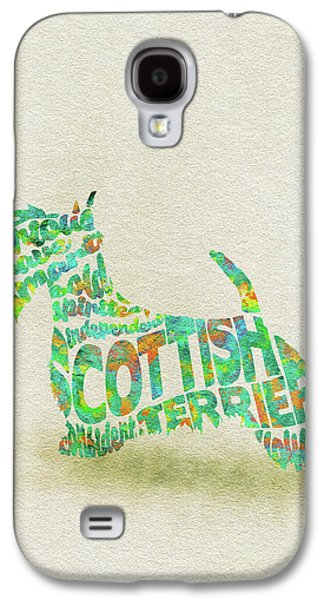 Scottish Terrier Dog Watercolor Painting / Typographic Art Galaxy S4 Case