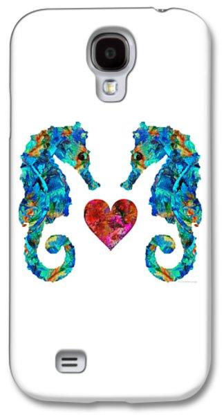 Sea Lovers - Seahorse Beach Art By Sharon Cummings Galaxy S4 Case by Sharon Cummings