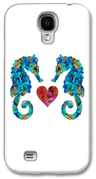 Sea Lovers - Seahorse Beach Art By Sharon Cummings Galaxy S4 Case by Sharon Cummings
