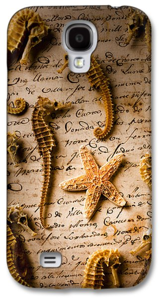 Seahorses And Starfish On Old Letter Galaxy S4 Case by Garry Gay