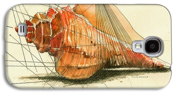 Seashell Art Painting Galaxy S4 Case by Juan  Bosco