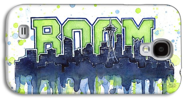 Seattle 12th Man Legion Of Boom Watercolor Galaxy S4 Case by Olga Shvartsur
