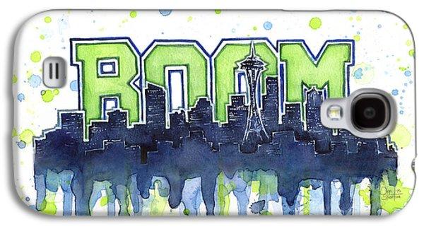 Seattle Galaxy S4 Case - Seattle 12th Man Legion Of Boom Watercolor by Olga Shvartsur