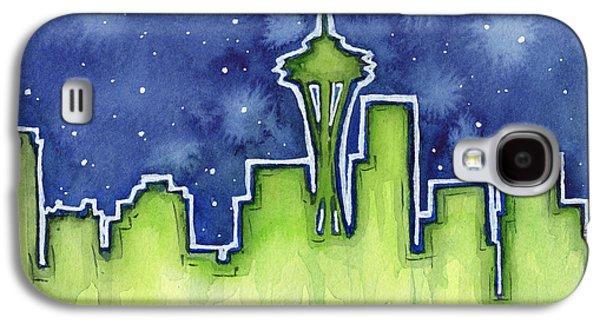 Seattle Night Sky Watercolor Galaxy S4 Case by Olga Shvartsur