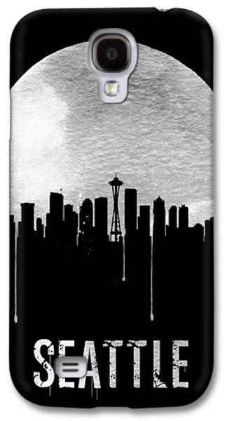 Seattle Skyline Black Galaxy S4 Case by Naxart Studio