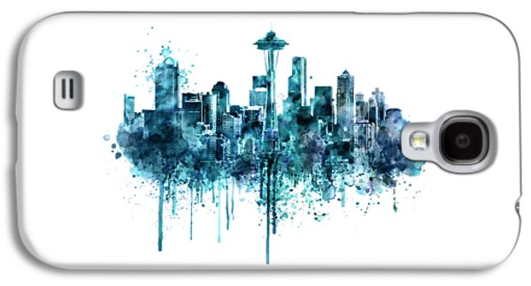 Seattle Skyline Monochrome Watercolor Galaxy S4 Case