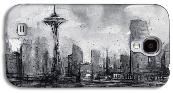 Seattle Skyline Painting Watercolor  Galaxy S4 Case by Olga Shvartsur