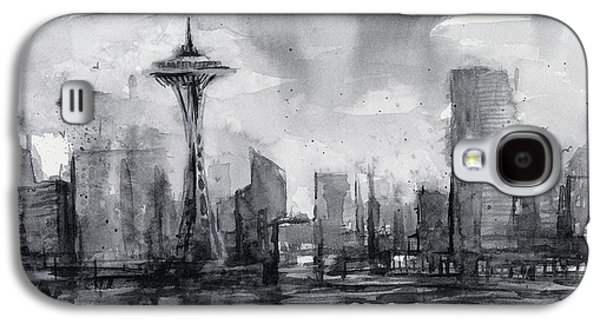 Seattle Skyline Painting Watercolor  Galaxy S4 Case by Olga Shvartsur