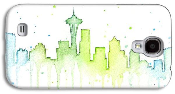Skyline Galaxy S4 Case - Seattle Skyline Watercolor  by Olga Shvartsur