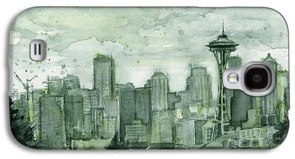 City Scenes Galaxy S4 Case - Seattle Skyline Watercolor Space Needle by Olga Shvartsur