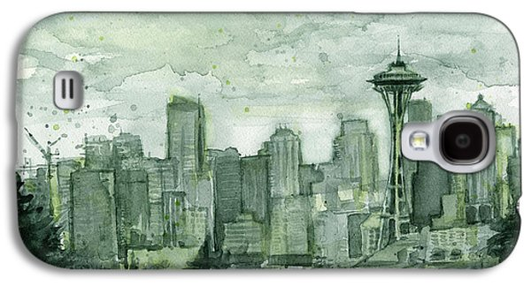 Seattle Skyline Watercolor Space Needle Galaxy S4 Case