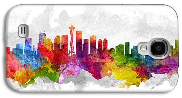 Seattle Washington Cityscape 13 Galaxy S4 Case by Aged Pixel