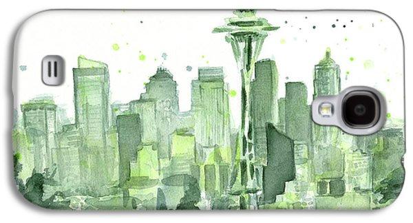 Seattle Galaxy S4 Case - Seattle Watercolor by Olga Shvartsur