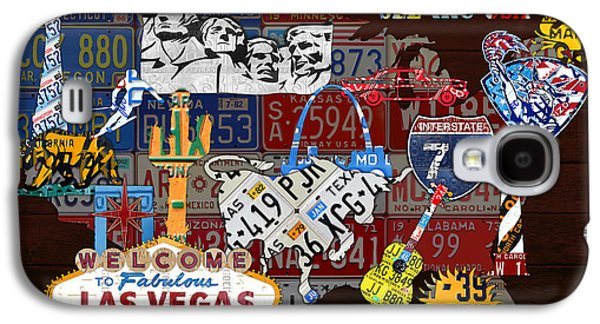 See The Usa Vintage Travel Map Recycled License Plate Art Of American Landmarks Galaxy S4 Case