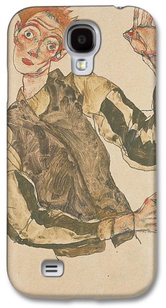 Self-portrait With Striped Armlets Galaxy S4 Case by Egon Schiele