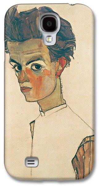 Self-portrait With Striped Shirt Galaxy S4 Case by Egon Schiele