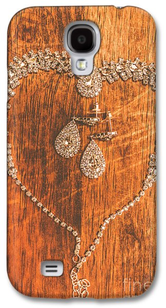Set Of Brilliant Jewellery On Wooden Background Galaxy S4 Case