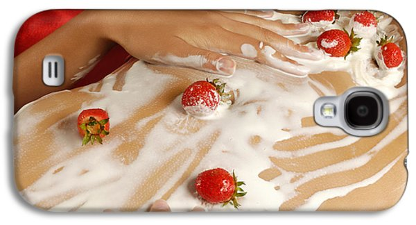 Sexy Nude Woman Body Covered With Cream And Strawberries Galaxy S4 Case