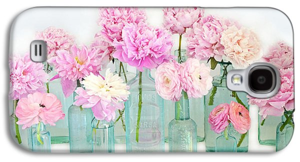 Shabby Chic Cottage Pink Peonies In Mason Jars - Summer Garden Peonies In Vintage Aqua Bottles Galaxy S4 Case
