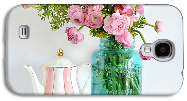 Shabby Chic Cottage Ranunculus Roses Peonies Pink Aqua Cottage Floral Prints Home Decor  Galaxy S4 Case