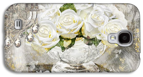 Shabby White Roses With Gold Glitter Galaxy S4 Case by Mindy Sommers