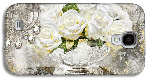 Glitters Galaxy S4 Cases - Shabby White Roses with Gold Glitter Galaxy S4 Case by Mindy Sommers