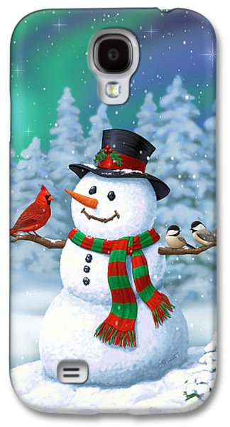 Sharing The Wonder - Christmas Snowman And Birds Galaxy S4 Case by Crista Forest