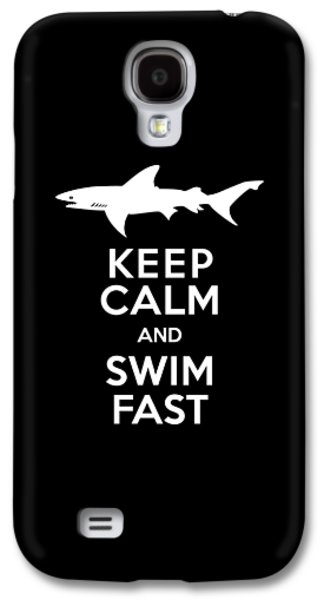 Shark Keep Calm And Swim Fast Galaxy S4 Case by Antique Images