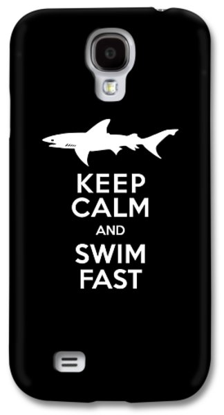 Sharks Galaxy S4 Case - Shark Keep Calm And Swim Fast by Antique Images