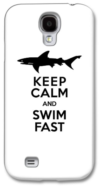 Sharks Keep Calm And Swim Fast Galaxy S4 Case by Antique Images