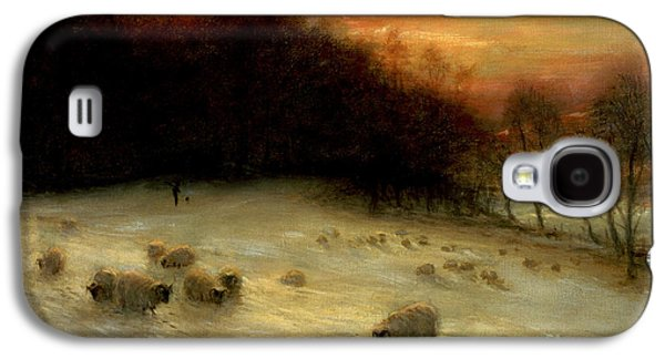 Sheep In A Winter Landscape Evening Galaxy S4 Case by Joseph Farquharson