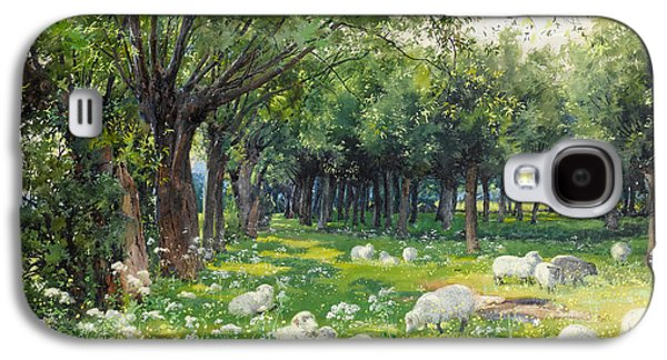 Sheep In An Orchard At Springtime Galaxy S4 Case by Louis Fairfax Muckley
