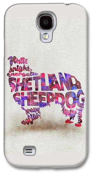 Shetland Sheepdog Watercolor Painting / Typographic Art Galaxy S4 Case