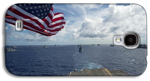 Ships Gather In Formation Aft Of The Amphibious Assault Ship Uss Peleliu  Galaxy S4 Case by Celestial Images