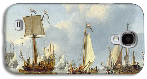 Ships In Calm Water With Figures By The Shore Galaxy S4 Case by Abraham Storck