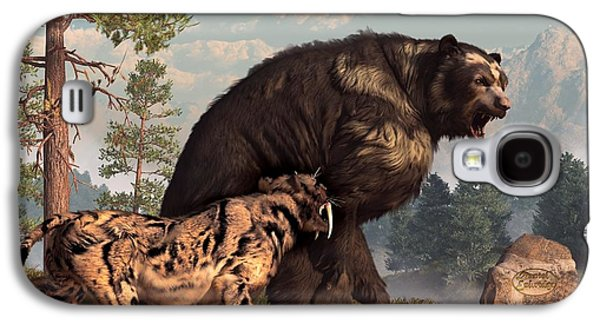 Short-faced Bear And Saber-toothed Cat Galaxy S4 Case by Daniel Eskridge