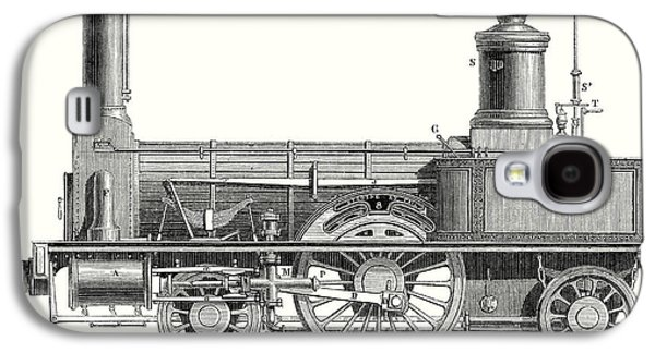 Sideview Of An Old Fashioned Locomotive Showing The Mechanism Of The Engine Galaxy S4 Case by English School