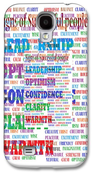 Signs Of Successful People A Texto-graphic Of Leadership Qualities Poster Galaxy S4 Case by Navin Joshi