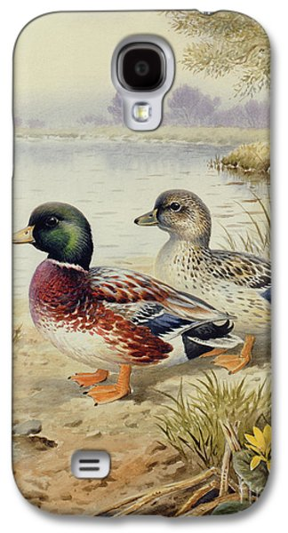Silver Call Ducks Galaxy S4 Case by Carl Donner