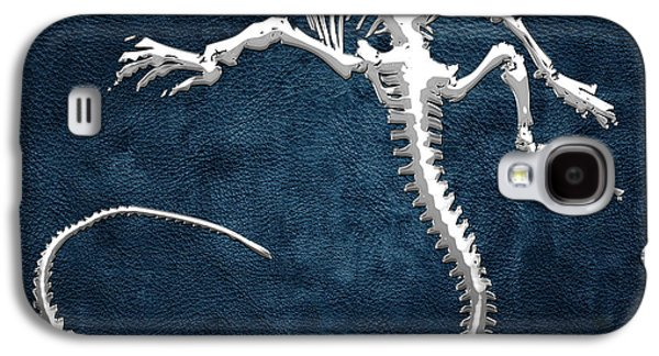 Silver Iguana Skeleton On Blue Silver Iguana Skeleton On Blue  Galaxy S4 Case