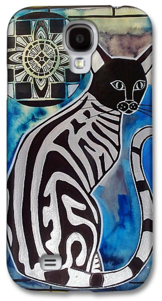 Galaxy S4 Case featuring the painting Silver Tabby With Mandala - Cat Art By Dora Hathazi Mendes by Dora Hathazi Mendes