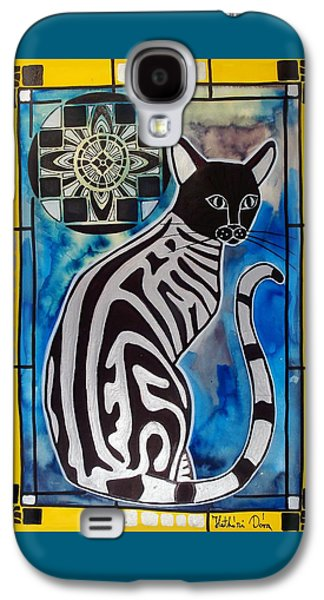 Silver Tabby With Mandala - Cat Art By Dora Hathazi Mendes Galaxy S4 Case