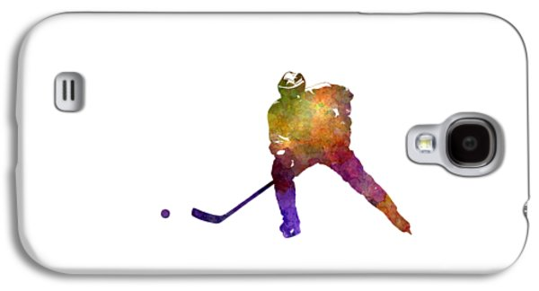 Skater Of Hockey In Watercolor Galaxy S4 Case
